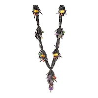 Black Seed Beads Necklace with Amethyst, Green Aventurine, Citrine, Red and Golden cultured Blister Pearls