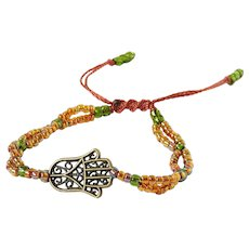 Bronze Hamsa with Orange and Green Double Stranded Seed Beads