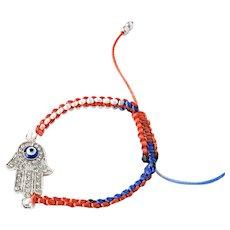Hamsa Blue Evil Eye Bracelet on Triple Colour Macrame, Protective Talisman, Traditional Protection Jewelry, Kabbalah, Buddhism, Islam, Judaism