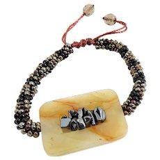 Jasper Bracelet with Hematite, Black and Bronze Seed Beads, on Brown Macrame Cord, Adjustable