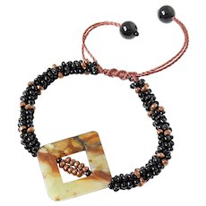 Jasper Bracelet with Copper colour Hematite and Black Seed Beads Seed Beads, on Brown Macrame Cord, Adjustable