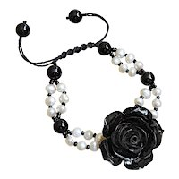 Black Coral Flower Bracelet with cultured White Freshwater Pearls and Black Onyx, Black Seed Beads