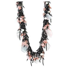 Rose Quartz Necklace with Black Seed Beads, Rhodochrosite, cultured White Freshwater Pearls
