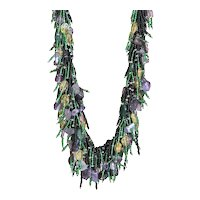 Black & Green Seed Beads Chic Necklace with Amethyst, Citrine and Green Aventurine
