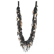 Freshwater Pearls Necklace with Black Seed Beads