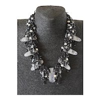 Rose Quartz Necklace with Black Seed Beads, cultured Freshwater Pearls and Moonstone