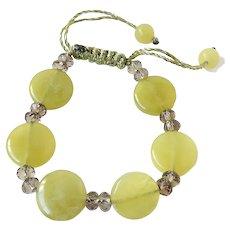 Olivine Bracelet with Smoky Quartz, adjustable, macrame closure
