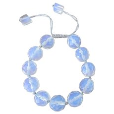 Faceted Opalite Bracelet, adjustable, silky silver macrame cord
