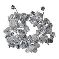 Crackled Quartz Bracelet, adjustable, macrame closure