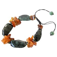 Emerald Bracelet with clusters of Baltic Amber, adjustable, macrame closure