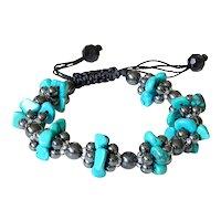 Turquoise(reconstituted) and Hematite Bracelet, macrame closure, adjustable