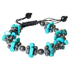 Turquoise(reconstituted) and Hematite Bracelet, macrame closure, adjustable