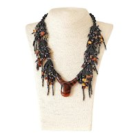 Black Seed Beads Multi Strand Necklace with Large Agate Pendant Bronze Yellow cultured Blister Pearls, Amber