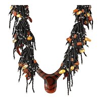 Black Seed Bead Multi-Strand Necklace with Horn Shape Agate Pendant, Yellow & Bronze Blister cultured Pearls, Amber, Red Jasper, Sandstone.