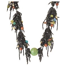 Black Seed Beads Multi-Strand Necklace with Chrysocola Ball and Black Onyx, Amber, Red Jasper, Olivine, Bronze cultured Pearls, Unakite