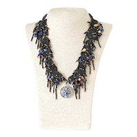 Black Seed Beads Multi-Strand Necklace with Lapis Lazuli, Sodalite, Carnelian, Red Corals, Yellow Blister cultured Pearls