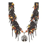 Black Seed Beads Multi-Strand Necklace with Red Jasper, Serpentine, Olivine, Yellow Aventurine, Golden Blister cultured Pearls