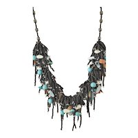 Black Seed Multi Strand Gemstone Necklace with Aquamarine, Turquoise, Yellow Aventurine, cultured Blister White Pearls