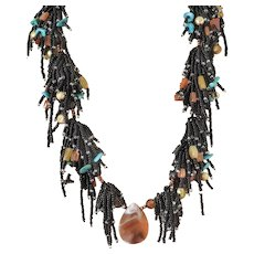 Black Seed Multi Strand Gemstone Necklace with Carnelian, cultured Golden Pearls, Red Jasper, Turquoise
