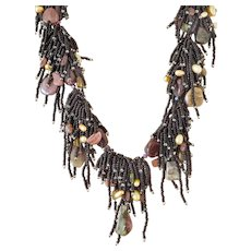 Black Seed Beads Multi Strand Gemstone Necklace with Tourmaline Pendant and Tourmaline Stones, Rhodochrosite, Golden cultured Pearls, Rubylite