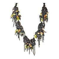 Black Seed Beads Multi Strand Necklace with cultured Golden Freshwater Pearls, Olivine, Carnelian, Chinese Chrysoprase, Serpentine