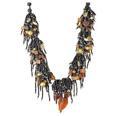 Black Seed Beads Multi Strand Gemstone Necklace with a Carved Carnelian Leaf, Carnelian Heart, Citrine, Golden cultured Blister Pearls