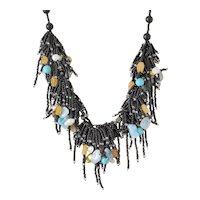 Black Seed Beads Multi Strand Gemstone Necklace with Aquamarine, White cultured Blister Pearls, Citrine, Yellow Aventurine, Turquoise