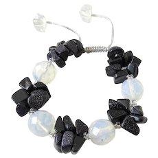 Opalite and Blue Goldstone Gemstone Bracelet, adjustable