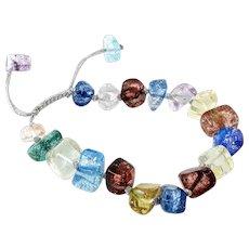 Multi Colour Irregular Glass Cubes Bracelet, adjustable