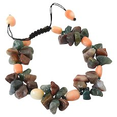 Multi Colour Clusters of Agate and Sea Bamboo Corals Gemstone Bracelet, adjustable