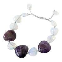 Opalite and Amethyst Hearts Gemstone Bracelet, elegant stylish attractive