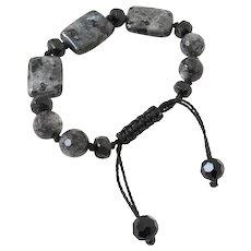 Black Labradorite and Rainbow Obsidian Gemstone Bracelet
