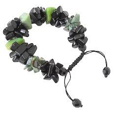 Chrysoprase with Black Obsidian Gemstone Bracelet, adjustable