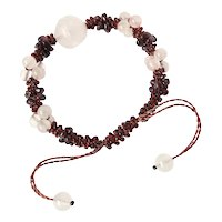Rose Quartz with Garnet Gemstone Bracelet, adjustable