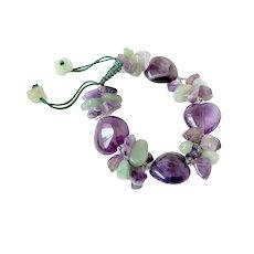 Amethyst and Green Aventurine Heart Gemstone Bracelet