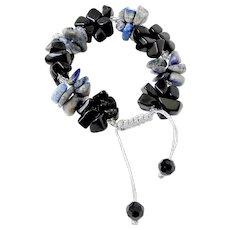 Sodalite And Black Obsidian Cluster Bracelet, adjustable
