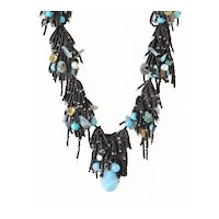 Black Seed Beads Multi Strand Necklace with Amazonite, Emerald, Citrine, Aquamarine, cultured Freshwater Pearls, Turquoise