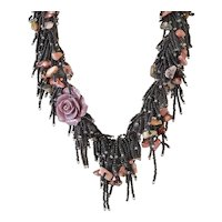Black Seed Beads with Coral Flower Multi Strand Gemstone Necklace, Rhodonite, Blister Pink cultured Pearls, Lava Beads