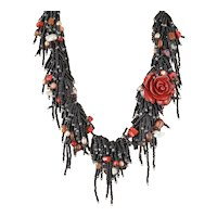 Black Seed Beads Multi Strand Gemstone Necklace with Red Coral(reconst.) Flower, White & Red cultured Pearls, Corals