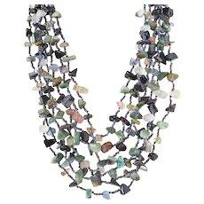 Multi Strand Gemstone Necklace with Blue Goldstone, Green Agate, Multi Colour Quartz on Seven Layers