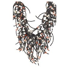 Black Seed Multi Strand Gemstone Statement Necklace with White cultured Pearls and Pink Corals
