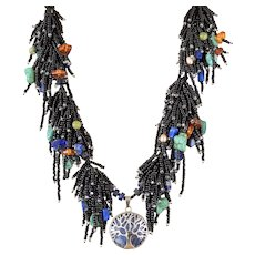 Black Seed Beads Multi-Strand Necklace with Lapis Lazuli, Turquoise(reconstituted),Sodalite, Carnelian, Red Corals, cultured Yellow Blister Pearls