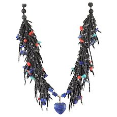 Black Seed Beads Multi-Strand Necklace with Lapis Lazuli Pendant, Turquoise(reconstituted),Sodalite, Red Corals, Lava Beads