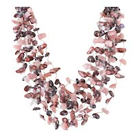 Multiple Strand Gemstone Necklace with Garnet, Rhodochrosite, Freshwater cultured Mauve Pearls