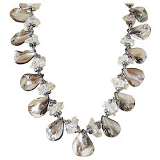 Mother of Pearl Gemstone Necklace with Clear Quartz and Black Freshwater cultured Pearls
