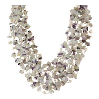 Multi Layered Multi Strand Pearl Necklace with Amethyst and Aquamarine