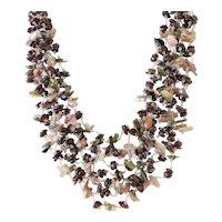 Multi Layered Multi Strand Garnet Tourmaline Gemstone Necklace