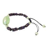 Jade Bracelet with Purple Seed Beads, adjustable