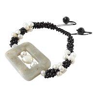 Jasper Gemstone Bracelet with White cultured Freshwater Pearls