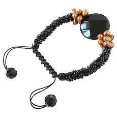 Black Onyx Gemstone Bracelet with Bronze cultured Freshwater Pearls and Black Seed Beads